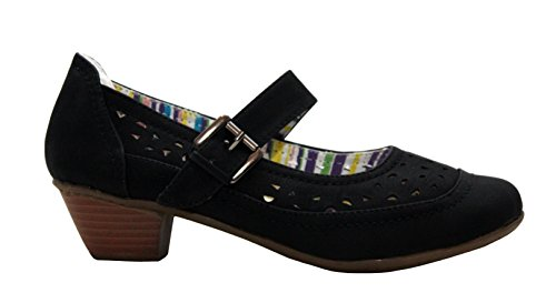 Womens Ladies Mary Jane Buckle Strap Girls Low Heel Summer Casual Court Shoes UK Sizes 3-8 Black m6kX5VvQEL