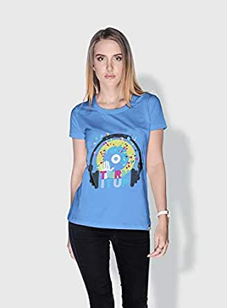 Creo Turn It Up Trendy T-Shirts For Women - S, Blue