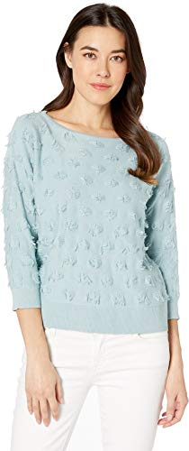 Two by Vince Camuto Women's Long Sleeve Eyelash Crew Neck Sweater Blue Cypress ()