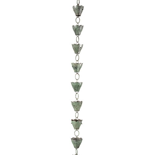 Good Directions 13 Cup Tulip Pure Blue Verde Copper 8.5-Foot Rain Chain Leader by Good Directions (Image #6)