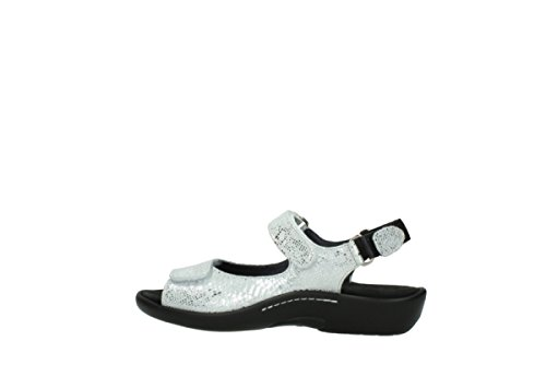 Wolky 1300 Salvia Black Womens Sandals 612 offwhite snake print metallic leather