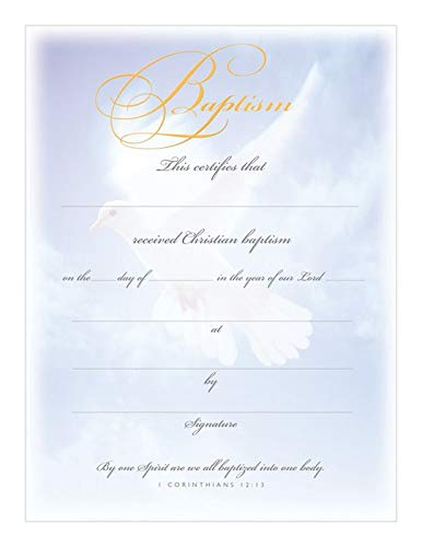 Certificate Baptism Dove & Blue (pkg of 6) (Package of 6)