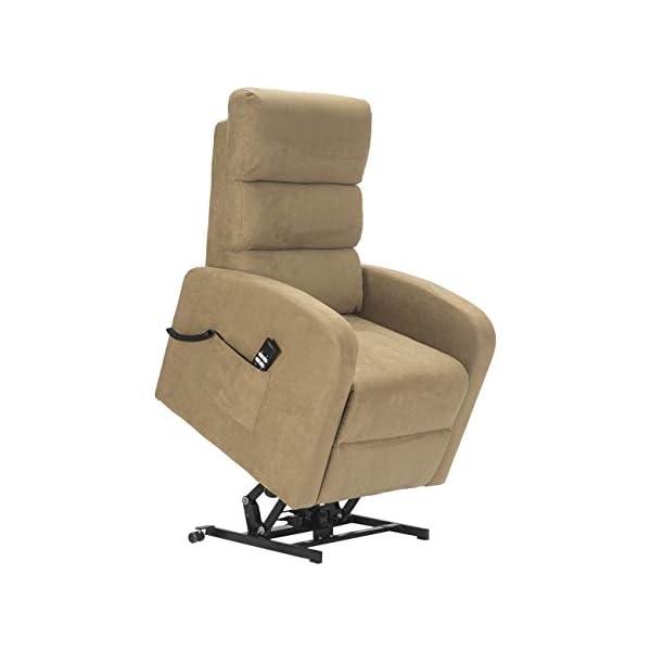 Sime – Fauteuil Relax électrique avec 1 Moteur et système releveur Robin-1M-MICAM Camel Microfibre CE Medical