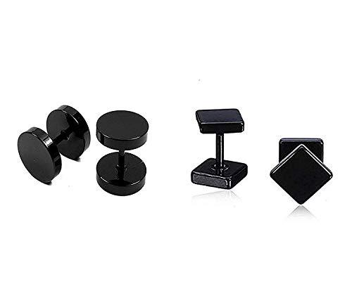 Gadget Deals Round Square Barbell Dumbells Piercing Combo Stud Earing Set
