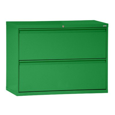 Sandusky Lee LF8F302-A8 800 Series 2 Drawer Lateral File Cabinet, 19.25″ Depth x 28.375″ Height x 30″ Width, Primary Green