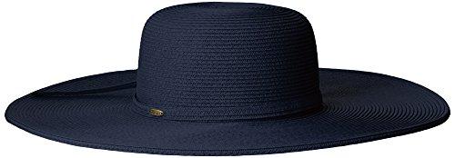 SCALA Women's Big Brim Paper Braid Hat, Indigo, One - Wide Toyo Hat Braid