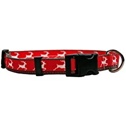 "Reindeer Print Dog Collar - Size Large 18"" to 28"" Long - Made In The USA"