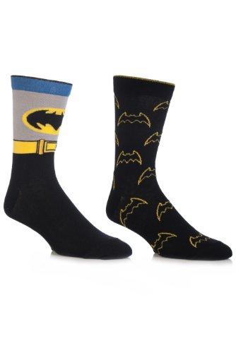 [SockShop Men's 2 Pair DC Comics Mix Batman Socks 7-12 Multicolored] (Batman Dress Socks)