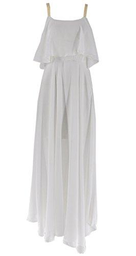 ACVIP Damen Ärmellose Lotusblatt Pendel mit Schlinge Polyester Lang Sommerkleider Weiß 9hrXQEA