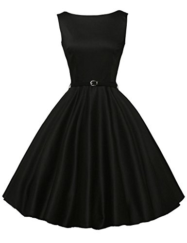 (Women Black Retro Dresses Fit and Flared Size M)