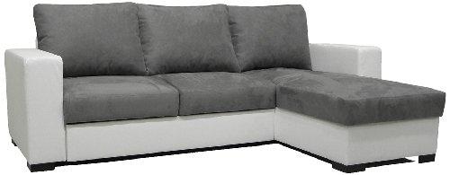 Pole Dianaamr1941 Dodi Angle Canapé Convertible Réversible Look Blanc Microfibres Gris Souris