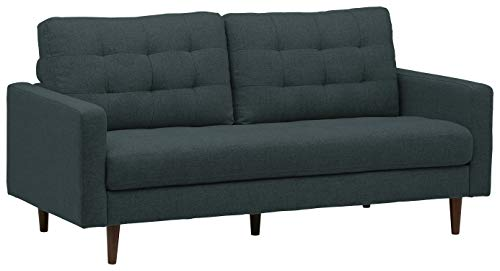 "Rivet Cove Mid-Century Modern Tufted Sofa with Tapered Legs, 72""W, Denim"