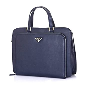 d8b3f3b1f84d Image Unavailable. Image not available for. Color  Prada Saffiano Leather  Briefcase Blue VR0023