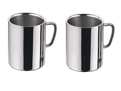 MIR9 Stainless Steel Coffee Mug   2 Pieces, Silver, 250 ml