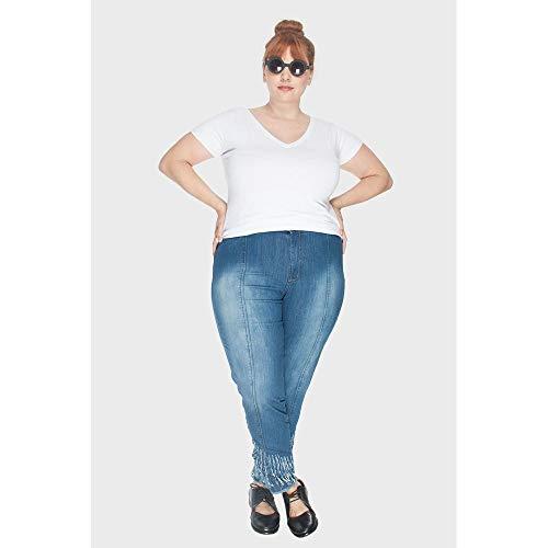 Calça Com Lycra Plus Size Azul-50