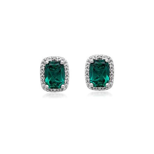 (Jewelili 10KT White Gold Cushion-Cut Created Emerald and Diamond Accent Earrings)