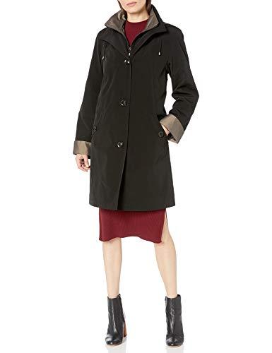 Gallery Women's 3/4 A Line Single Breasted Rain Coat, Black, Medium
