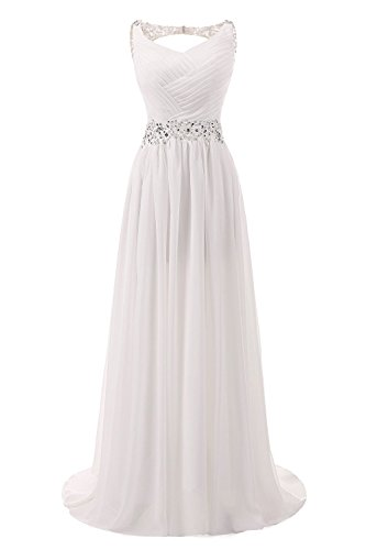AbaoWedding Women's Chiffon V Neck Shoulder Straps Long Wedding Evening Dress Size 4 Ivory