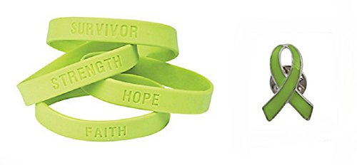 Lime Green Awareness Ribbon Pin and Inspirational Saying Bracelets (36 Pcs) by DG Shopping Spree