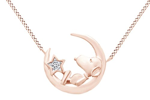 (Round Cut White Natural Diamond Snoopy Star Moon Pendant In 925 Sterling Silver (0.02 cttw))