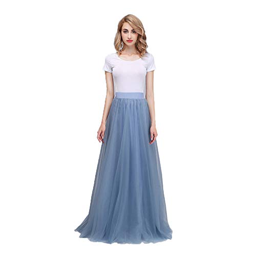 Honey Qiao Women's Maxi High Waist Skirts A Line Tulle Holiday Formal ()