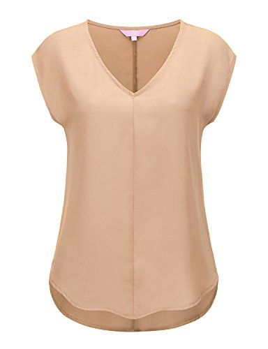 (Regna X Womens Cream Summer Casual Short Sleeve Chiffon Tank Top XXX-Large)