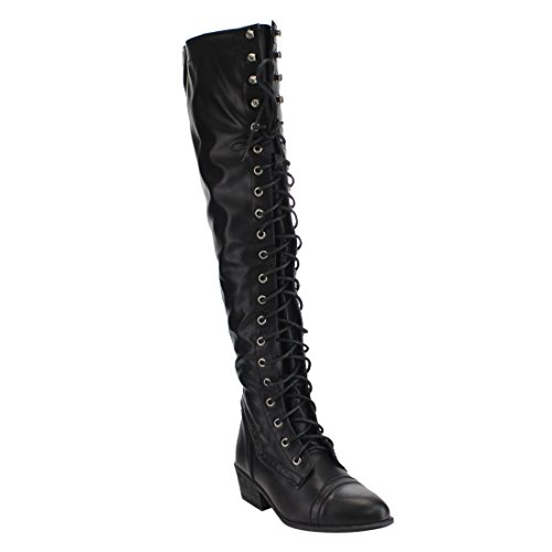 Beston DE11 Women's Lace Up Block Heel Side Zip Over The Knee High Combat Boots