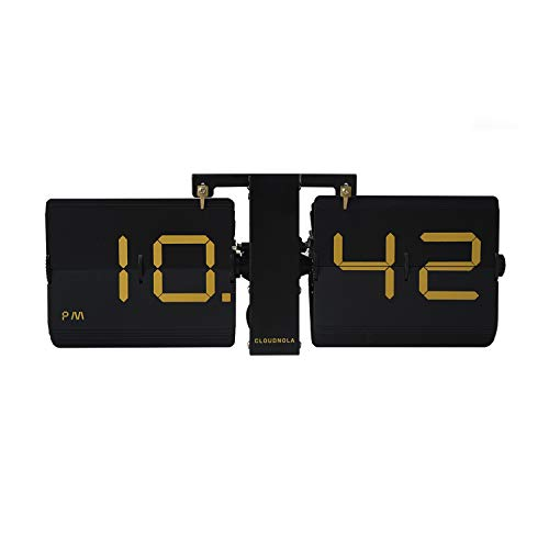 Cloudnola Flipping Out The Lux Black Gold | Wall/Shelve Clock | Great Living Room, Bedroom Office