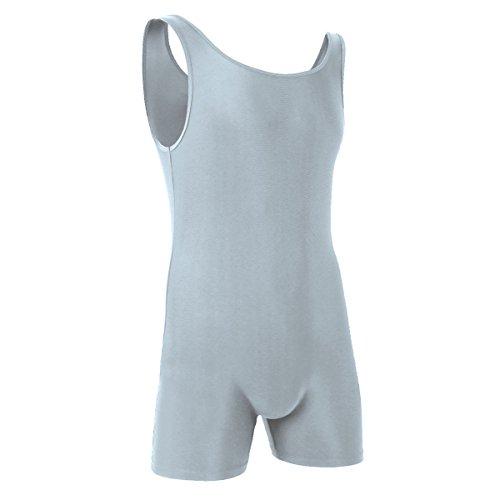 - iiniim Menâ€s One Piece Stretchy Bodywear Bodysuit Sleeveless Tights Leotard Underwear Silver-Gray M
