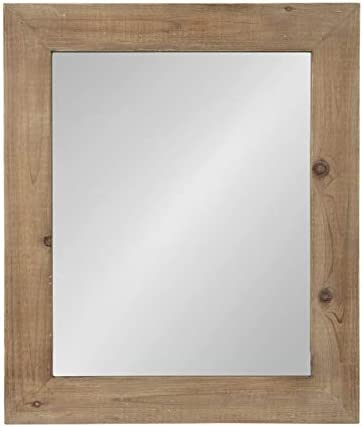 Kate and Laurel Garvey Wood Framed Wall Mirror, 36 x 30, Rustic Brown
