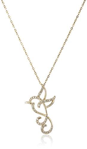 10k Yellow Gold Flying Humming Bird Diamond (1/10cttw, I-J Color, I2-I3 Clarity) Necklace, (Diamond Bird)