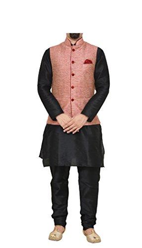 (Mag Men's Black Matching Silk Kurta Churidhar With Pink Waistcoat (RG-10069-38))