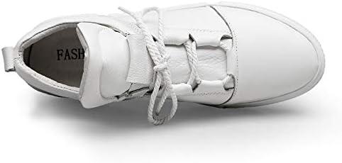Hommes Casual Skating Shoes en Cuir Semelles Supérieures Antidérapant,White,EU41/US8(M)/UK7