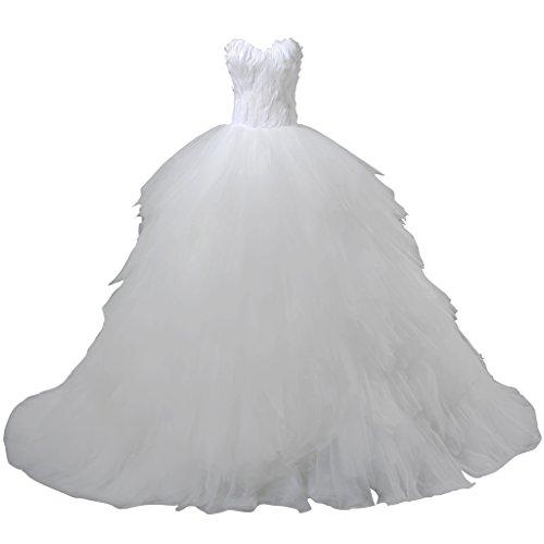 VIVIANSBRIDAL Sweetheart Tulle Suzhou Wedding Dress With Feathers Custom Size Ivory