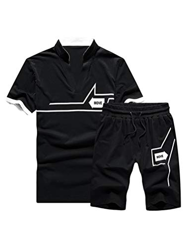 Lavnis Men's Casual Tracksuit T-Shirts and Shorts Running Jogging Athletic Sports Set (L, Black) (Best Male Outfits 2019)