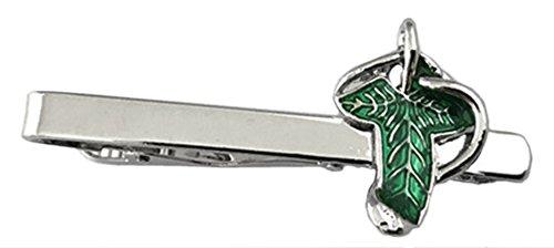 - Outlander Lord of the Rings Elven Leaf - Movie Series - Tiebar Tie Clasp Wedding Superhero Logo w/Gift Box