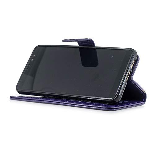 Protection Etui Cuir A8 Portefeuille de Cuir Pochette téléphone Galaxy Fonction 2018 Coque Galaxy Coque de en Samsung pour A8 en A8 pour 2018 Samsung Stand Herbests Housse Galaxy avec Violet 2018 Samsung Hou 0Tqn6Bq