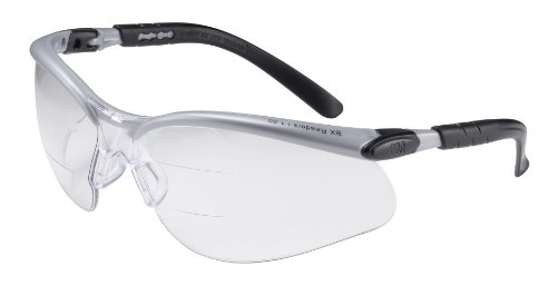 3M BX Dual Reader Protective Eyewear, 11458-00000-20 Clear Anti-Fog Lens, Silv/Blk Frame, +2.0 Top/Bottom Diopter (Pack of 1)
