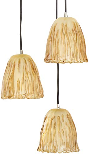 Tulip 3 Light - Justice Design Group Veneto Luce Collection 3-Light Cluster Pendant - Tulip with Rippled Rim - Brushed Nickel Finish with Amber Venetian Glass Shade