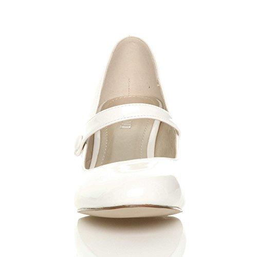 Mujeres Patent Con Medio Correa Blanco Cierre Zapatos Tacón De Para white  UYwvxYOIq e2ff1a31a7ff