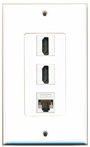 Hdmi White Cable Off (RiteAV - 2 HDMI and 1 Cat5e White Ethernet Port Wall Plate Decorative - White)