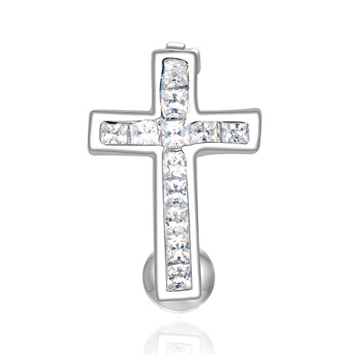 - Candyfancy 14G Surgical Steel Reverse Button Belly Rings for Women Men Cross Navel Ring Christian Piercing Jewelry