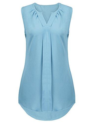 Naggoo Womens Chiffon V-Neck Sleeveless Front Pleated Work Blouse Tops (M, Blue)