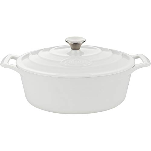 La Cuisine 4.75 Qt Enameled Cast Iron Oval Covered Dutch Oven, White Review