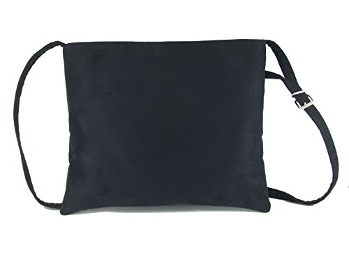 Loni Womens Hot Faux Suede Shoulder Bag Cross-Body Bag Flat with Zip-Top Black