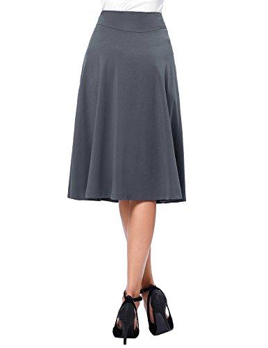 Kate 2 Kasin Jupe en Jupe Gris Haute Femme KK279 Bal de Taille Coton Casual Midi Longue 44rZq1d