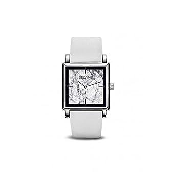 Armbanduhr Damen selvine Zifferblatt 28 mm aus Legierung Marmor grau und schwarz und Armband Weiß Leder spho6