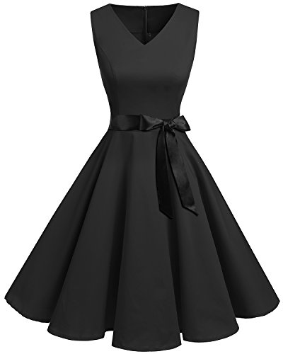 Bridesmay Women's V-Neck Audrey Hepburn 50s Vintage Elegant Floral Rockabilly Swing Cocktail Party Dress Black L