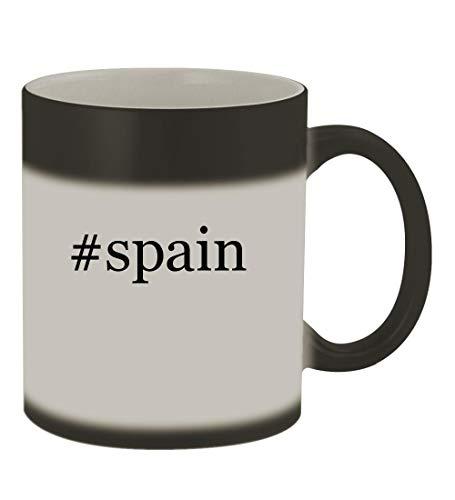 (#spain - 11oz Color Changing Hashtag Sturdy Ceramic Coffee Cup Mug, Matte Black)