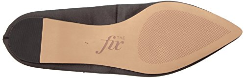 The Fix Womens Evie Military-Inspired Ankle Strap Pointed-Toe Flat Black Satin aWK79rgWQ